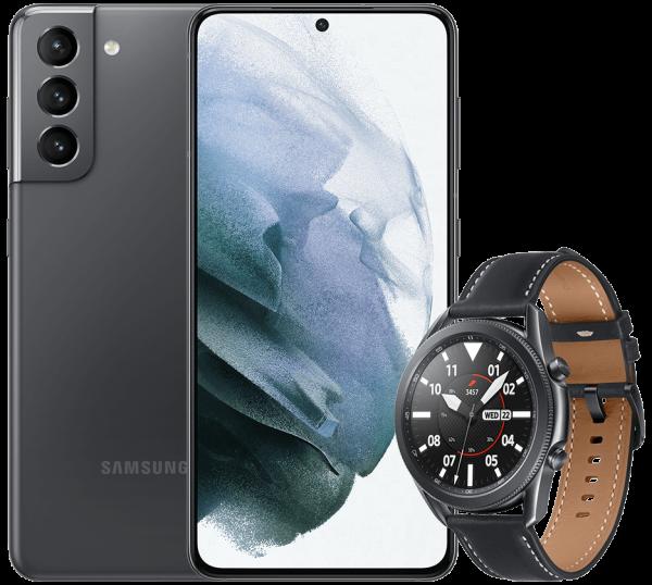 Samsung Galaxy S21 (5G) + Samsung Galaxy Watch 3 45mm schwarz